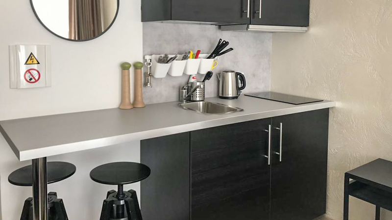 kitchen in serviced apartments in kaunas